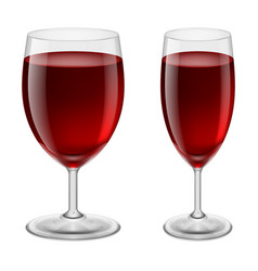 two glasses of red wine for creative design vector image vector image