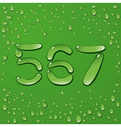 Water drop letters on green background 11 vector image vector image