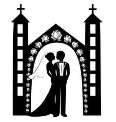 wedding silhouette 8 vector image vector image