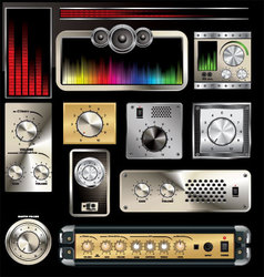 Control panel with volume knob and equalizers vector image
