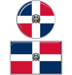 Dominican republic round and square icon flag vector