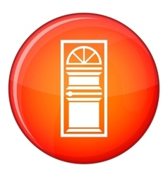 Door with an arched glass icon flat style vector image vector image
