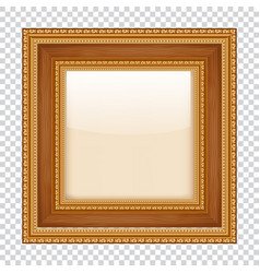 empty gold frame on transparent background wooden vector image