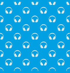 headphone pattern seamless blue vector image vector image