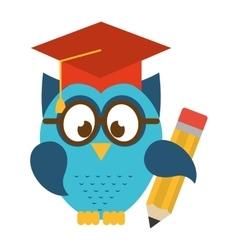 owl bird cute with hat graduation icon vector image