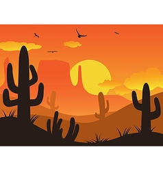 sunset cactus desert vector image