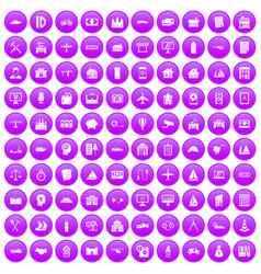 100 private property icons set purple vector image vector image
