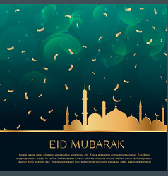 eid festival celebration background with golden vector image vector image