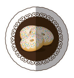 emblem color donut with colored sparks icon vector image