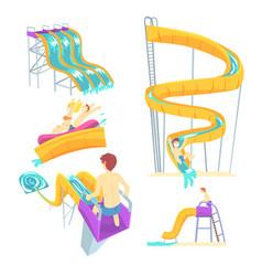 people having fun playing water slides set for vector image