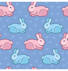 seamless pattern with rabbits and hearts vector image vector image