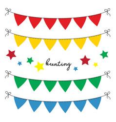 set of multi colored flat buntings garlands vector image
