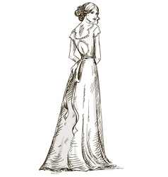 Beautiful girl Bride Bridal dress vector image