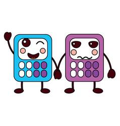 cartoon calculators kawaii school character vector image