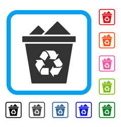 full recycle bin framed icon vector image