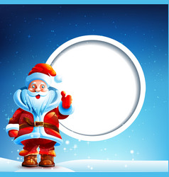 Santa Claus in the snow with a thumbs up vector image vector image