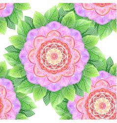 seamless watercolor flower abstract mandala vector image vector image