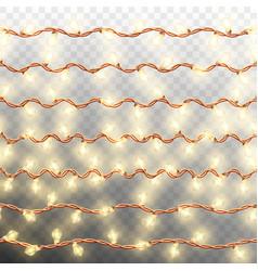 set of seven seamless garlands border eps 10 vector image