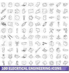 100 electrical engineering icons set outline vector image