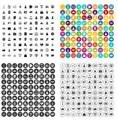 100 partnership startup icons set variant vector image