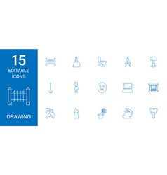 15 drawing icons vector image