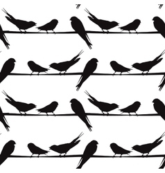 A silhouette of birds on a wire vector image