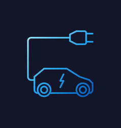 all-electric car with plug blue line icon vector image