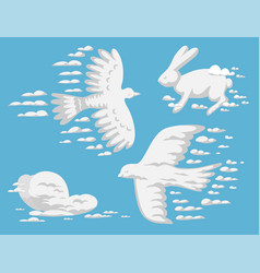 animal clouds silhouette pattern vector image