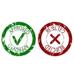 Approved and rejected stamp seal color vector
