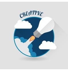 Art launch light bulb Creative start conceptFlat vector image