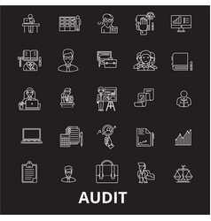audit editable line icons set on black vector image