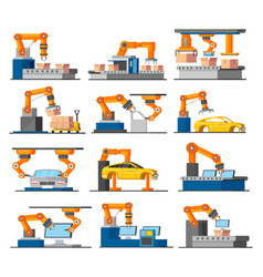 Automation industrial process elements set vector