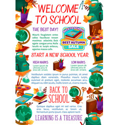 Back to school study stationery poster vector