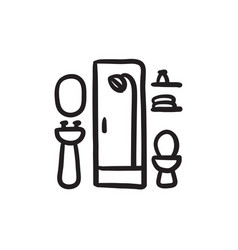 Bathroom sketch icon vector