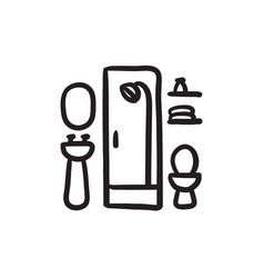 bathroom sketch icon vector image
