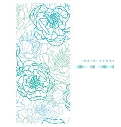 blue line art flowers vertical frame seamless vector image