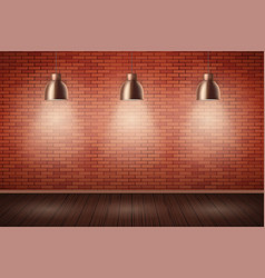 brick wall room with vintage lamps vector image