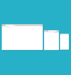 browser windows empty template mockup set vector image