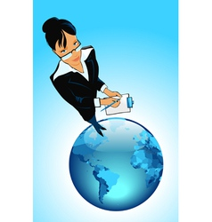 Business woman on globe vector image