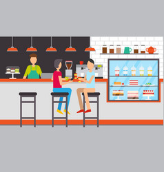 Cafe or bar coffee house with desserts visitors vector