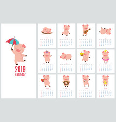 Calendar 2019 with cute pig funny cartoon pigs vector
