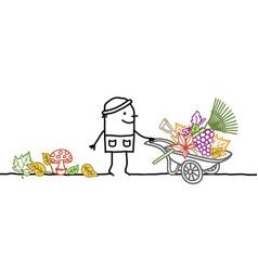 Cartoon fall gardener with wheelbarrow leaves and vector
