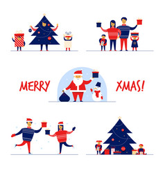 cartoon flat family characters winter holidays vector image