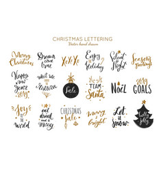 christmas and new year lettering and calligraphy vector image