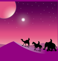 Christmas nativity the three wise men vector