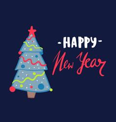 christmas tree on blue vector image