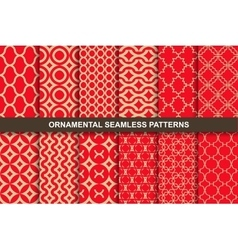 Collection of rich ornamental seamless patterns vector
