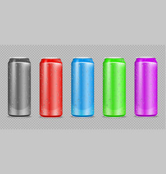 color aluminium cans realistic water drops on vector image