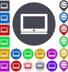 Color laptop icon set vector