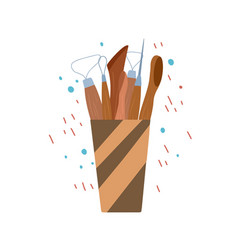 colored flat wood tools for pottery vector image